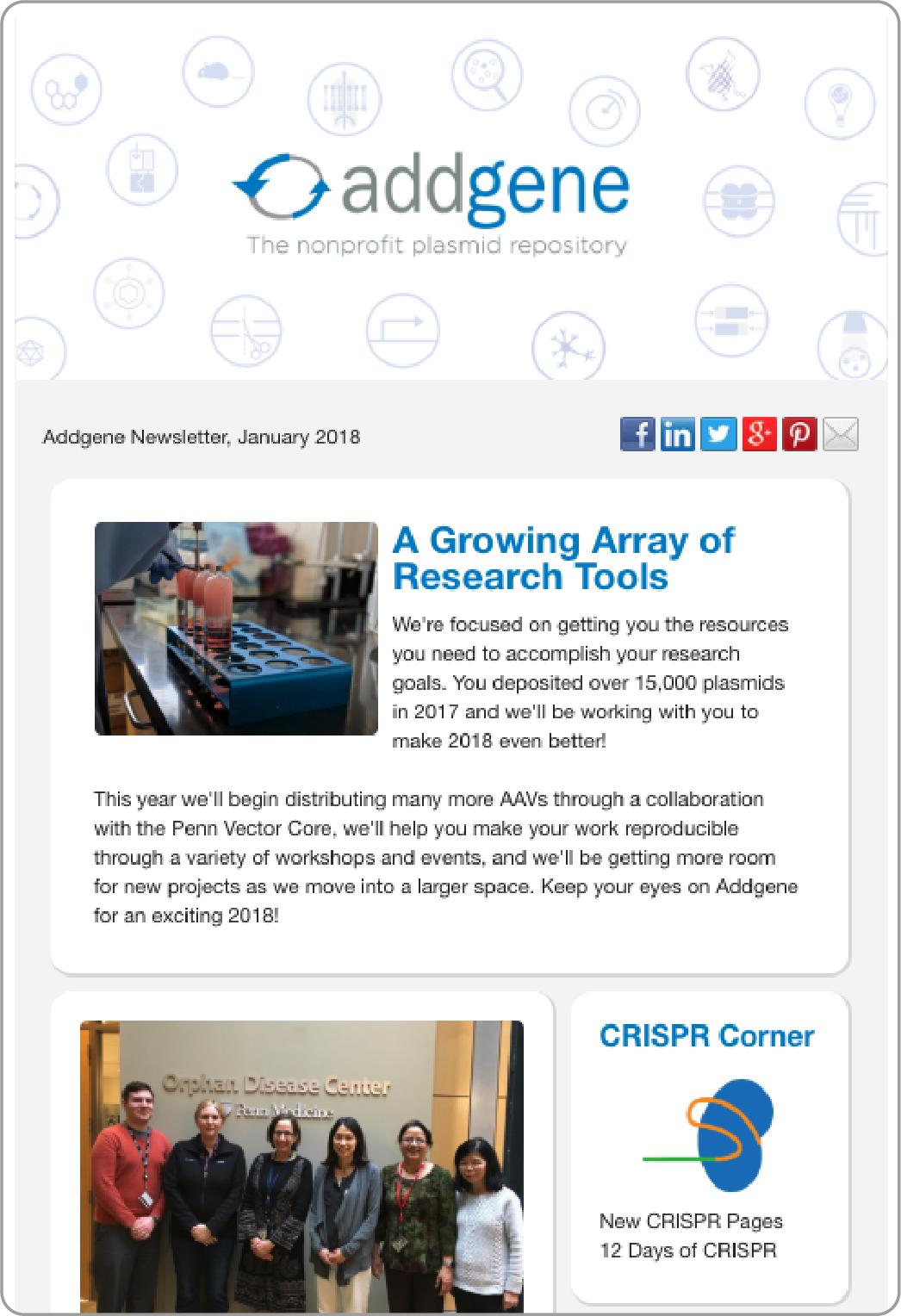Addgene Newsletter Screen Shot