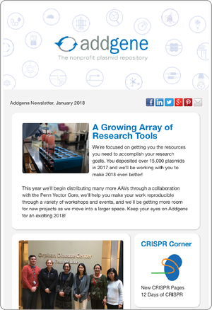 Addgene Newsletter Screen Shot